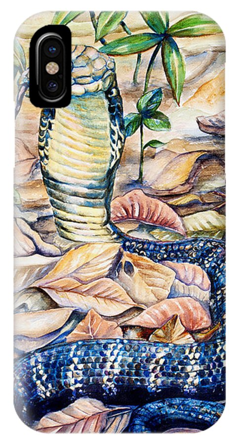 Snakes IPhone X / XS Case featuring the painting King Cobra by Trish Taylor Ponappa