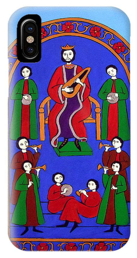 King David IPhone X Case featuring the painting King David And His Musicians by Stephanie Moore