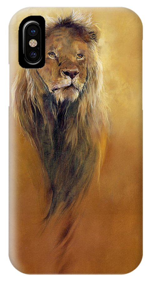 Animal; Furry; Lion; Wild Animal; Predator: King: Leo IPhone X Case featuring the painting King Leo by Odile Kidd
