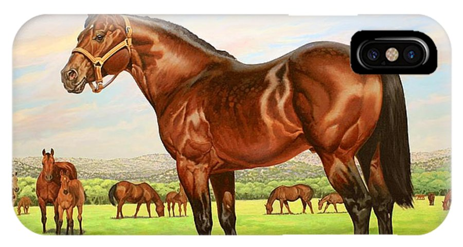 Quarter Horse IPhone X Case featuring the painting King P-234 No.two by Howard Dubois