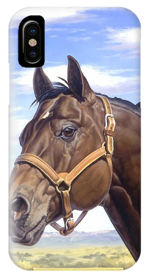 Quarter Horse IPhone X Case featuring the painting King P234 by Howard Dubois