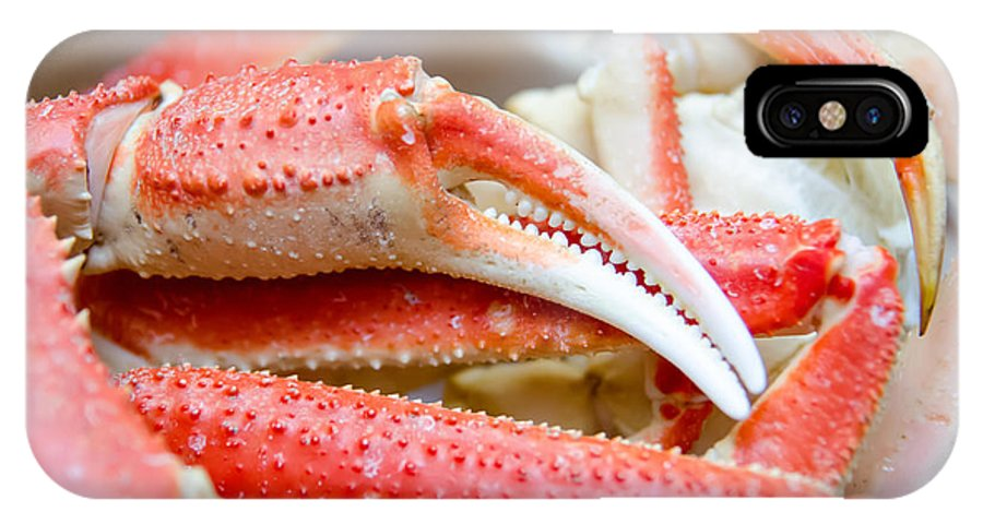 Crabs IPhone X Case featuring the photograph King Snow Crab Legs Ready To Eat Closeup by Alex Grichenko