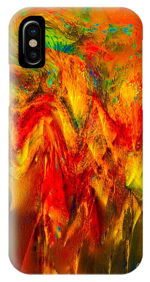 Painting-abstract Acrylic IPhone X Case featuring the mixed media King Solomon's Crown Of Wisdom by Catalina Walker