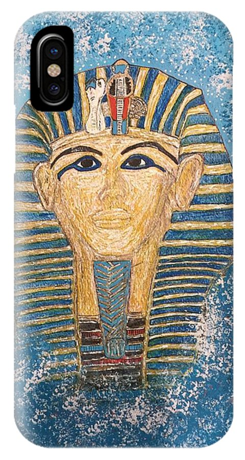 King Tut IPhone X Case featuring the painting King Tutankhamun Face Mask by Kathy Marrs Chandler
