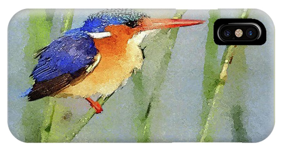 Kingfisher IPhone X Case featuring the digital art Kingfisher by MS Fineart Creations