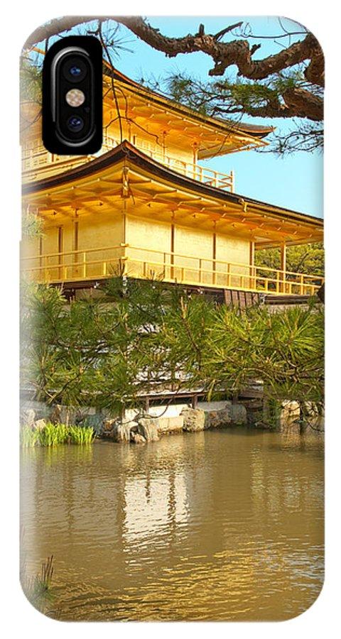 Japan IPhone X Case featuring the photograph Kinkakuji Golden Pavilion Kyoto by Sebastian Musial