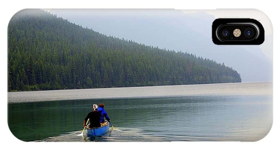 Mountains IPhone X Case featuring the photograph Kintla Lake Paddlers by Marty Koch