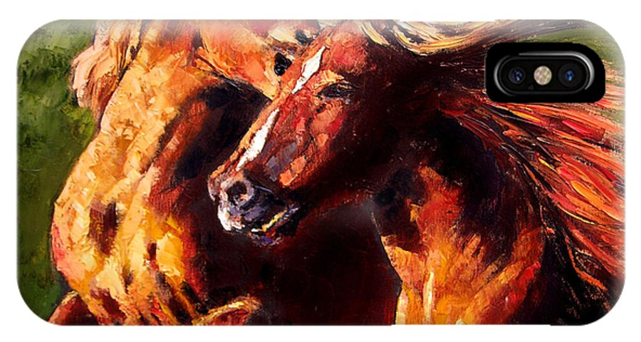 Horses Running IPhone X Case featuring the painting Kiss On The Run by John Lautermilch