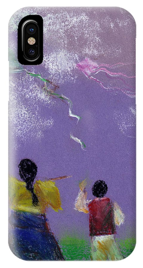 Flying Kite In A Sunny Day-oil Pastel IPhone X Case featuring the drawing Kite Flying by Mui-Joo Wee