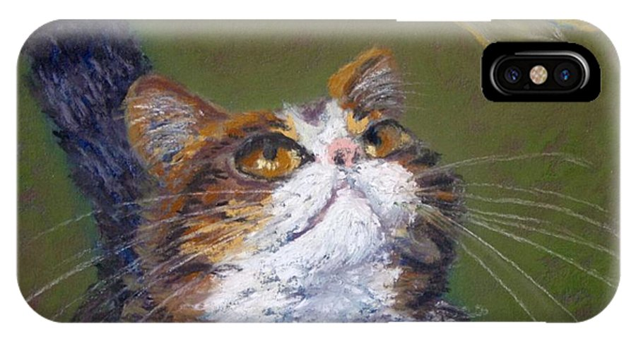 Cat IPhone X Case featuring the painting Kitty And The Dragonfly Close-up by Minaz Jantz