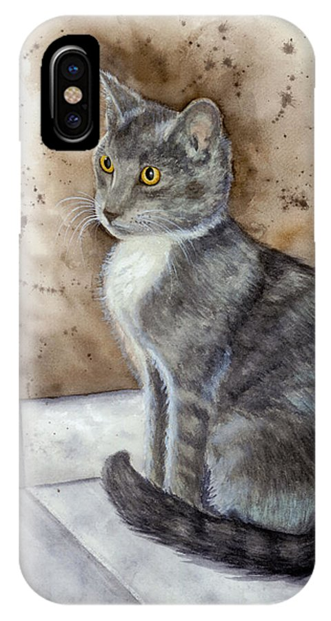Cat IPhone X Case featuring the painting Kitty by Mary Tuomi