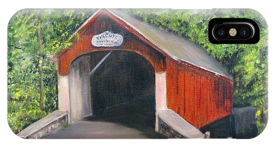 Bridge IPhone X Case featuring the painting Knechts Covered Bridge by Loretta Luglio