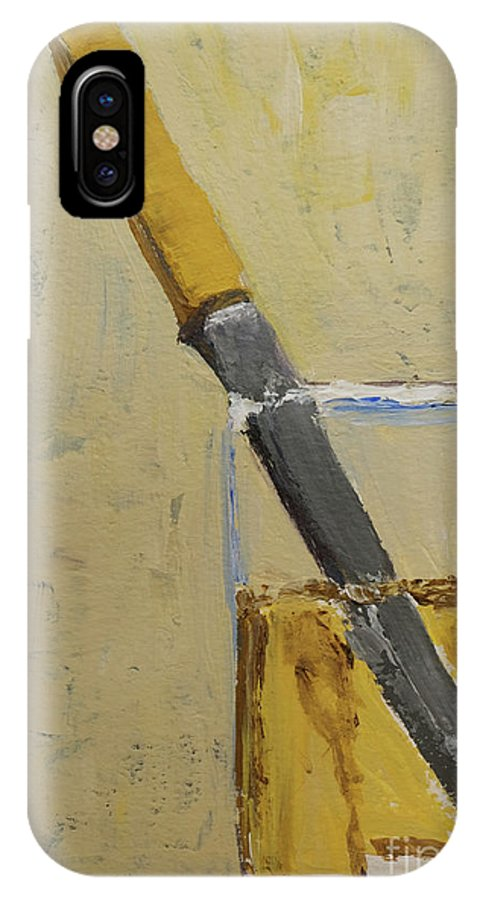 Knife In Glass IPhone X Case featuring the painting Knife In Glass - After Diebenkorn by Mini Arora