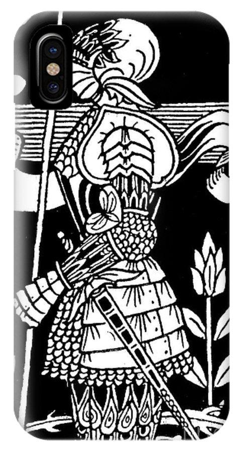 Aubrey Beardsley IPhone X Case featuring the drawing Knight Of Arthur, Preparing To Go Into Battle by Aubrey Beardsley