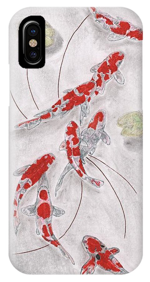 Koi IPhone X Case featuring the drawing Koi In The Sun by Pedro Brito Soares