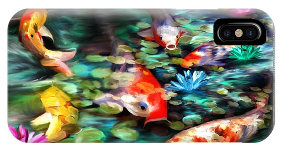 Koi IPhone X Case featuring the painting Koi Paradise by Susan Kinney