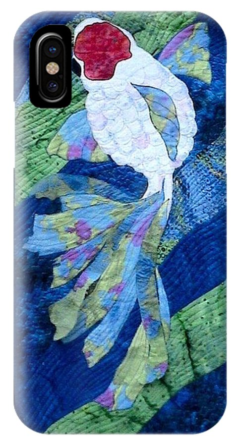 Single Koi Swimming IPhone X Case featuring the tapestry - textile Koi Serenity by Dolores Fegan