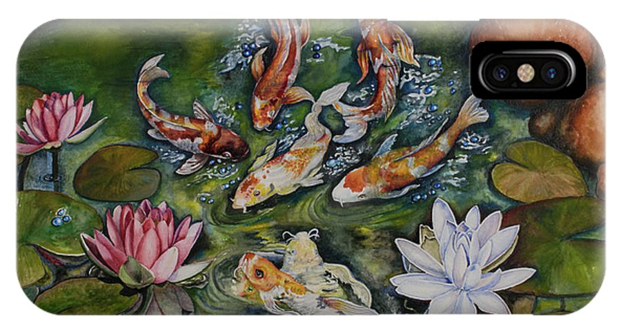 Koi IPhone X Case featuring the painting Kois In A Pond by Olive Pascual