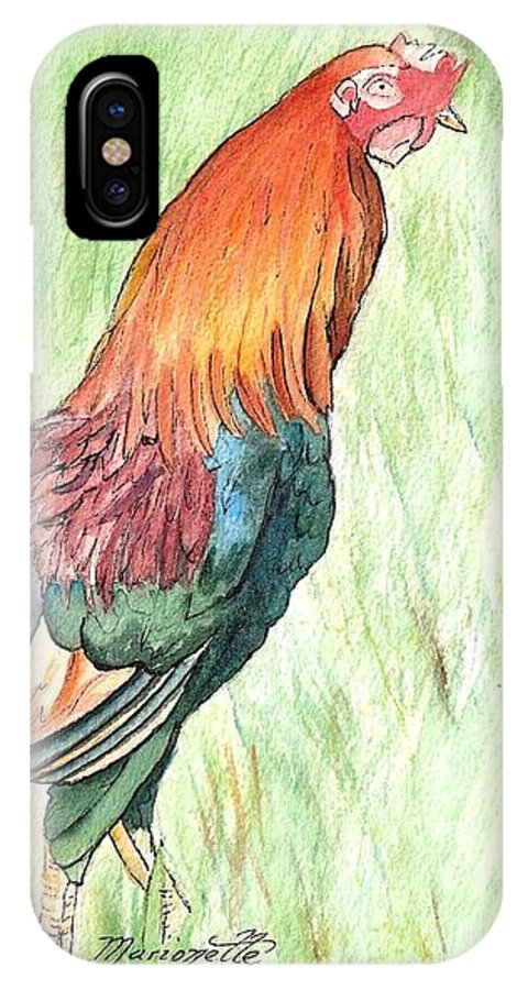 Roosters IPhone X Case featuring the painting Kokee Rooster by Marionette Taboniar