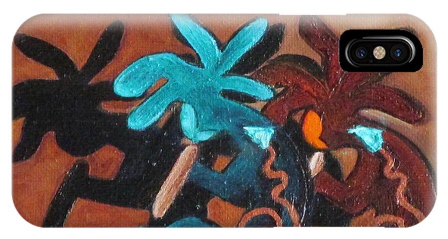 Kokopelli IPhone X Case featuring the painting Kokopellis by Judy Lybrand