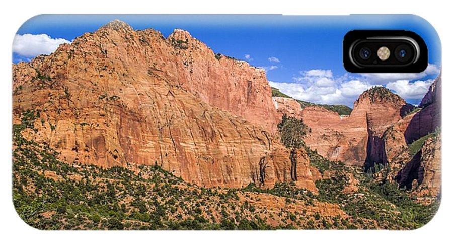 Mountain IPhone X Case featuring the photograph Kolob Canyon Vista by Roberta Bragan