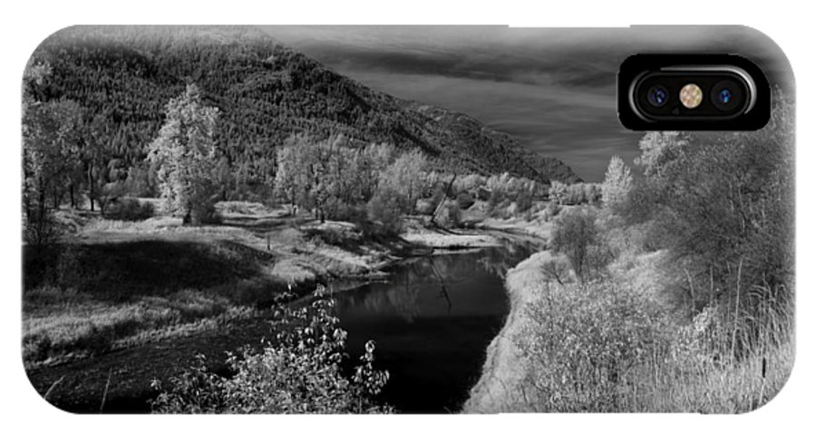 B&w IPhone X Case featuring the photograph Kootenai Wildlife Refuge in Infrared 3 by Lee Santa