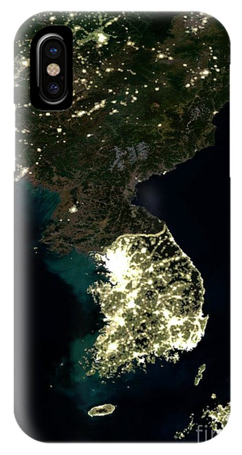 alight iphone x case featuring the photograph korean peninsula at night satellite image by science