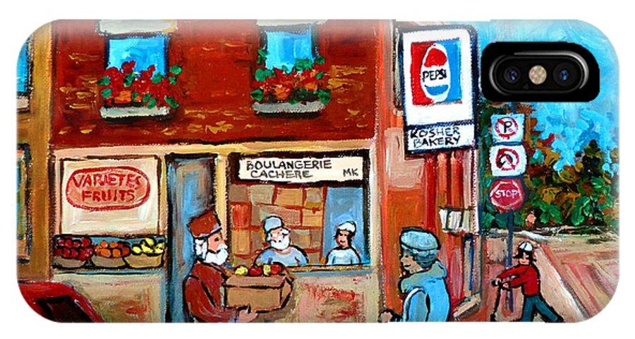 Kosher Bakery IPhone X Case featuring the painting Kosher Bakery On Hutchison Street by Carole Spandau