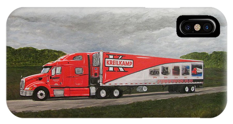 Kreilkamp IPhone X Case featuring the painting Kreilkamp Truck by Anita Burgermeister
