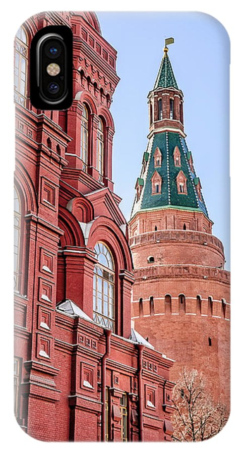 Moscow IPhone X Case featuring the photograph Kremlin Tower In Moscow by Alain De Maximy