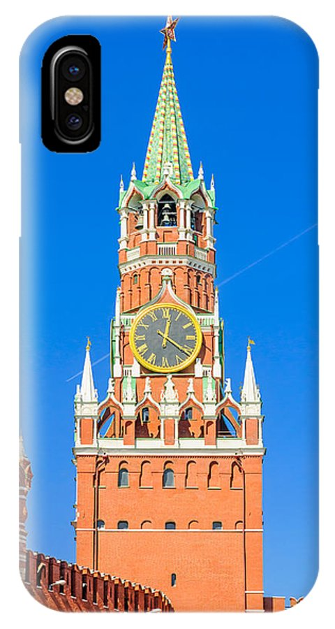 Moscow IPhone X Case featuring the photograph Kremlin's Clock Tower by Alain De Maximy