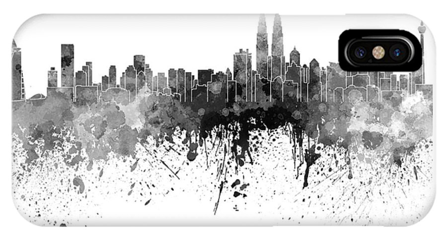 Kuala Lumpur Skyline In Black Watercolor On White Background Iphone X Case