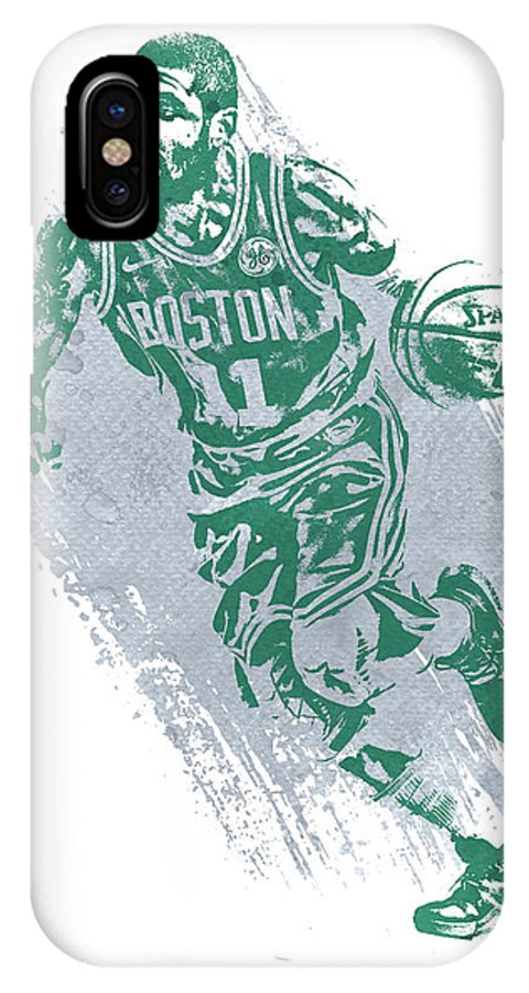 Kyrie Irving IPhone X Case featuring the mixed media Kyrie Irving Boston Celtics Water Color Art 2 by Joe Hamilton