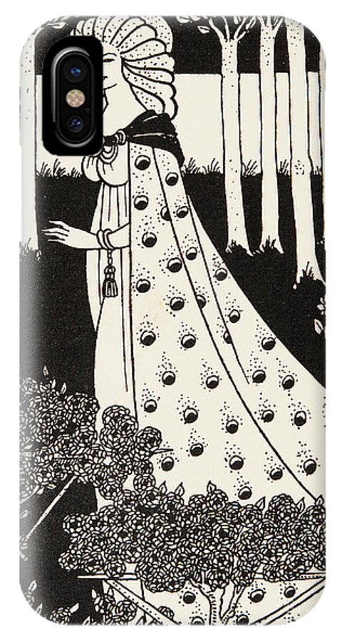 Nouveau IPhone X Case featuring the drawing La Beale Isolde by Aubrey Beardsley