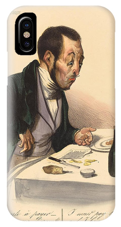 IPhone X Case featuring the drawing La Carte A Payer by Honor? Daumier