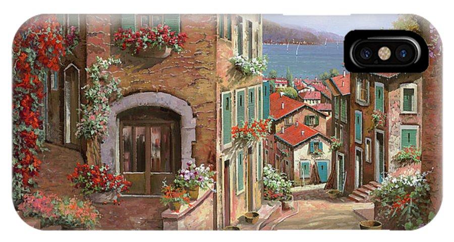 Seascape IPhone X Case featuring the painting La Discesa Al Mare by Guido Borelli