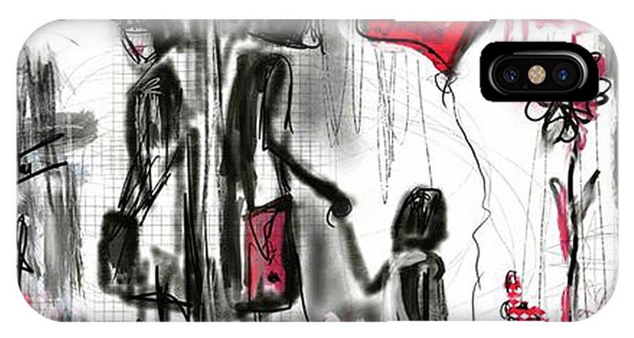 Divorce IPhone X Case featuring the digital art La Divorce by Sladjana Lazarevic