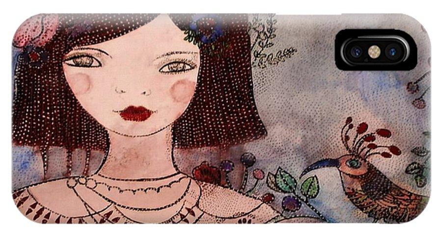 Fillette IPhone X Case featuring the painting La Jolie Poupee Et L' Oiseau by Anne BAZABIDILA