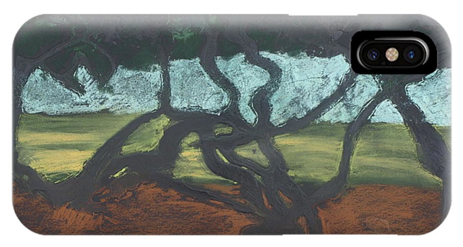 Contemporary Tree Landscape IPhone Case featuring the mixed media La Jolla II by Leah Tomaino