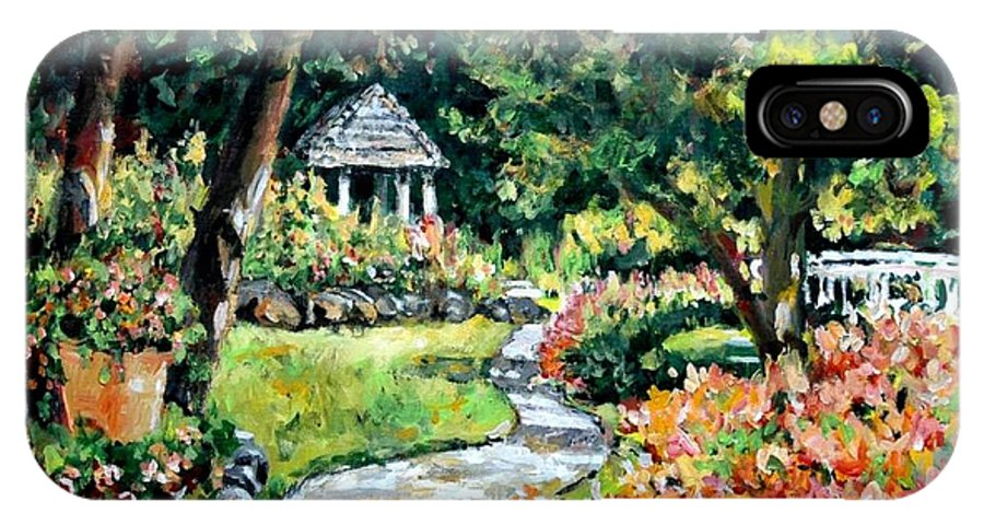 Landscape IPhone X Case featuring the painting La Paloma Gardens by Ingrid Dohm