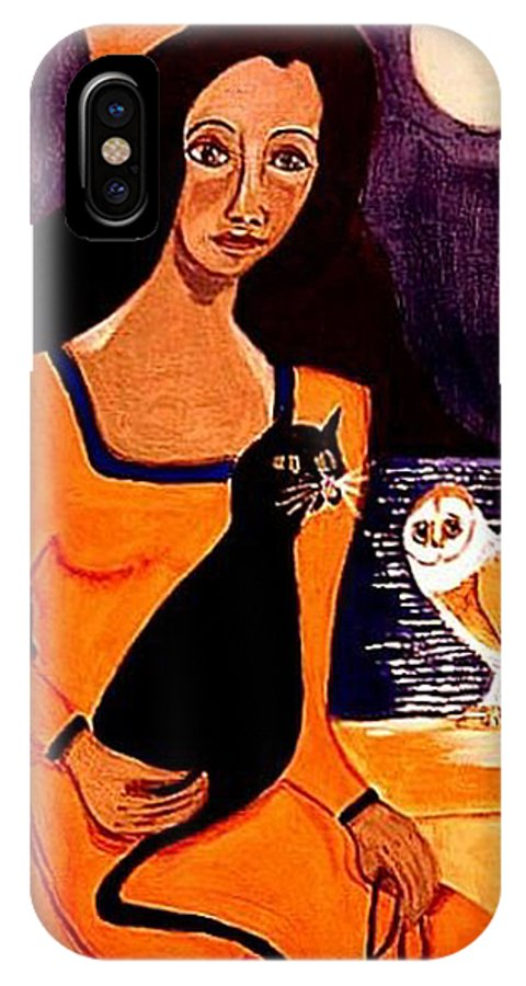 Occult IPhone X Case featuring the painting La Papesse by Rusty Gladdish