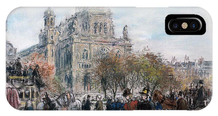 Paris IPhone X Case featuring the pastel La Place De Trinite by Jean Francois Raffaelli