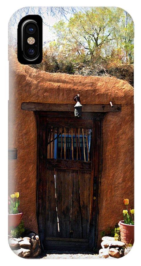 Door IPhone X Case featuring the photograph La Puerta Marron Vieja - The Old Brown Door by Kurt Van Wagner