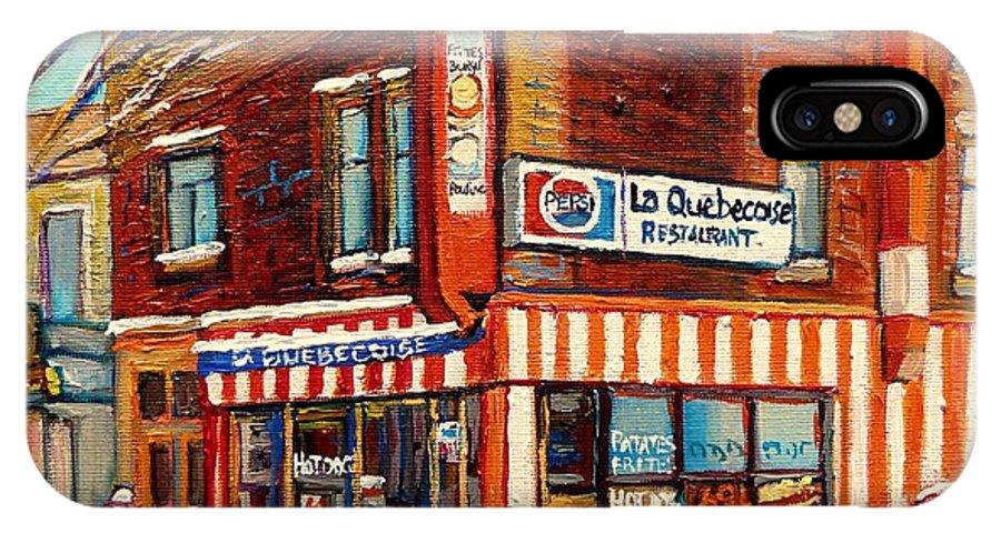 La Quebecoise Restaurant Deli IPhone X Case featuring the painting La Quebecoise Restaurant Deli by Carole Spandau