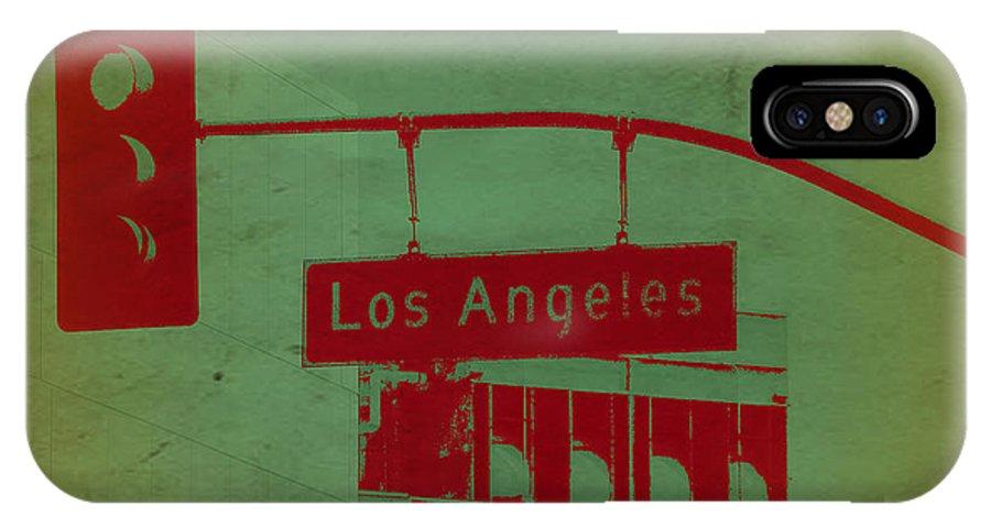 Los Angeles Street IPhone X Case featuring the photograph La Street Ligh by Naxart Studio