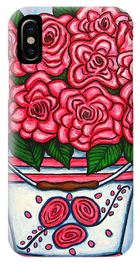 Rose IPhone Case featuring the painting La Vie En Rose by Lisa Lorenz