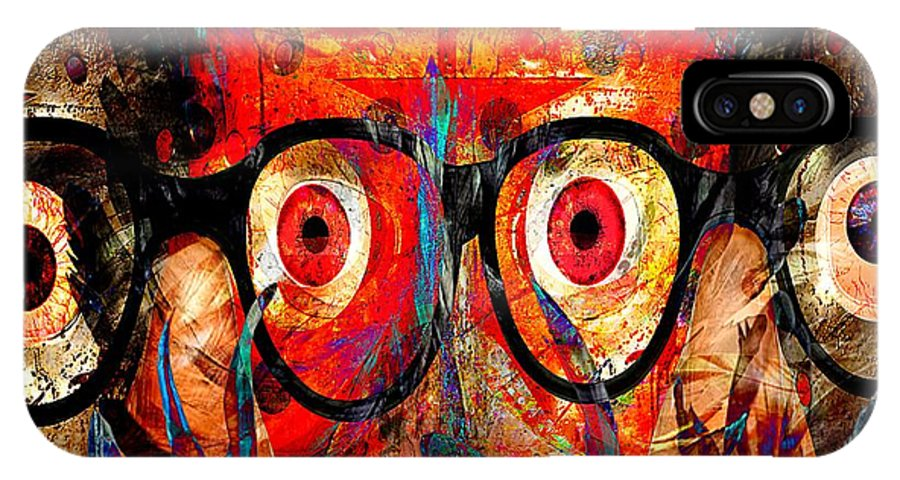 Fania Simon IPhone X Case featuring the mixed media Label The Brain Through The Eyes - Lords Of Madness by Fania Simon