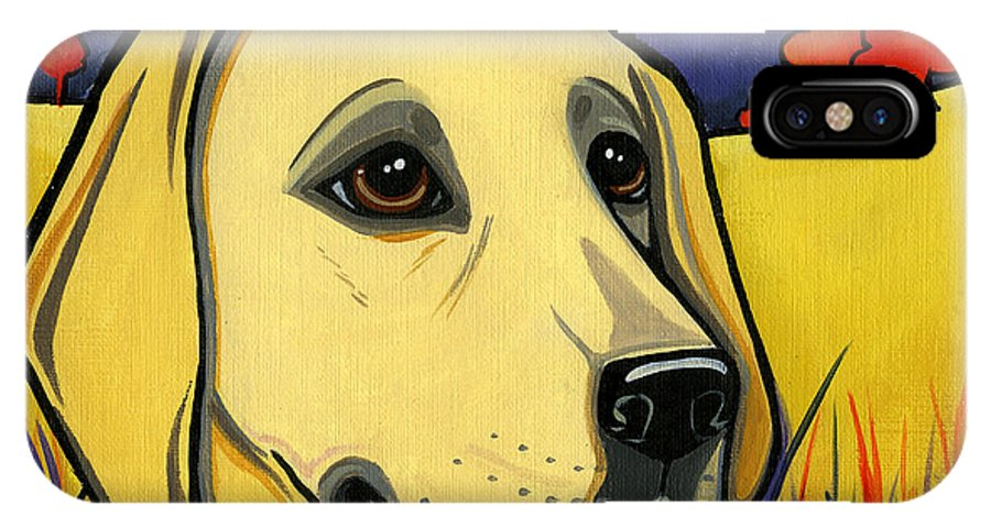 Labrador IPhone X Case featuring the painting Labrador by Leanne Wilkes