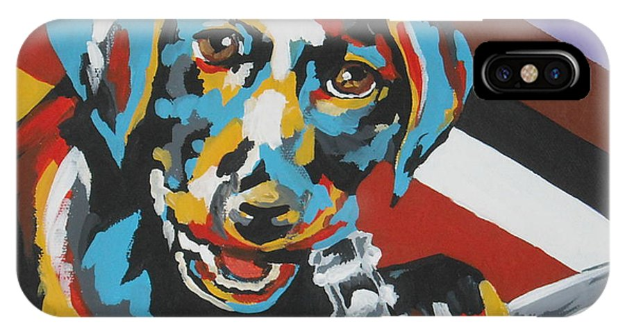 Puppy IPhone X Case featuring the painting Labrador Puppy by Caroline Davis