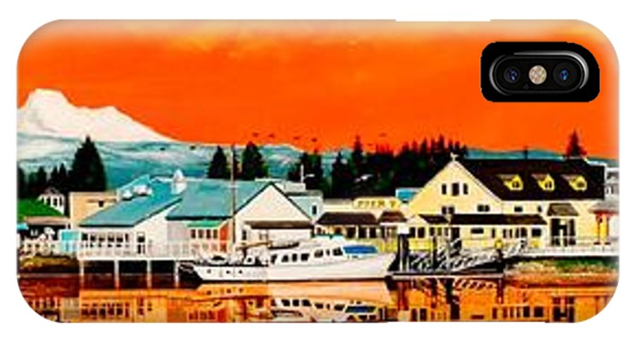 IPhone X Case featuring the painting Laconner Last Water Front Panel Painting by Bob Patterson